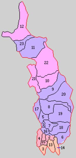 Kitatsugaru District, Aomori - Historic Map of Kitatsugaru District: 1.Goshogawara 2.Umezawa 3.Itayanagi 4.Tsuruta 5.Nakagawa 6.Nanawa 7.Matsushima 8.Kase 9.Kanagi 10.Nakasato 11.Aiuchi 12. Kodomari 13.Koami 14.Soikawa 15.Rokugo 16.Sakai 17.Miyoshi 18.Nagahashi 19.Iizumi 20.Kiraichi 21.Takeda 22.Uchigata 23.Wakimoto  Purple= Goshogawara City, Orange=Itayanagi, Red= Nakadomari, Peach=Tsuruta