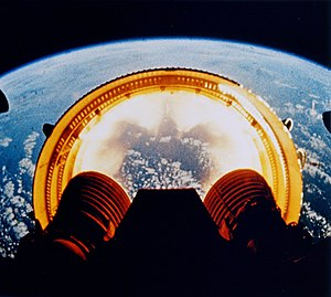 Saturn V stage falling away