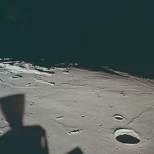 Mare Tranquillitatis - A view of the Apollo 11 landing site at center, facing west, with Maskelyne crater in right foreground