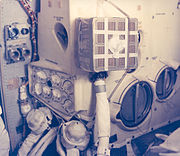 "Interior of the Lunar Module, showing the ""mailbox"" built to adapt the Command Module's Lithium Hydroxide canisters to fit the LM's environmental systems."