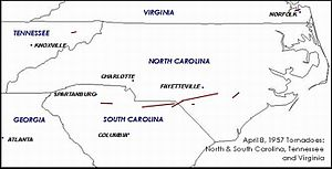 April 1957 Southeastern United States tornado outbreak - April 7–8, 1958, outbreak