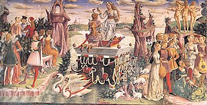 Francesco del Cossa - Allegory of April, fresco Palazzo Schifanoia, Ferrara.