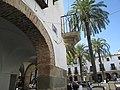 Arcade's and palm trees, Plaza Grande, Zafra, 22 July 2016.JPG