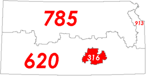 Area code 316 - Map of with area code 316 in Red