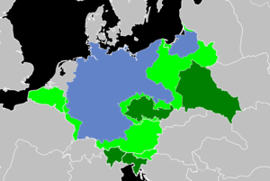 Areas annexed by Nazi Germany - Clockwise from the north: Memel, Danzig, Polish territories, General Government, Sudetenland, Bohemia-Moravia, Ostmark (Anschluss), Northern Slovenia, Adriatic littoral, Alpine foothills, Alsace-Lorraine, Luxembourg, Eupen-Malmédy, Wallonia, Flanders, Nord-Pas-de-Calais and Brussels