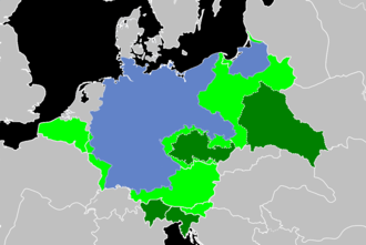 Areas annexed by Nazi Germany - Clockwise from the north: Memel, Danzig, Polish territories, General Government, Sudetenland, Bohemia-Moravia, Ostmark (Anschluss), Northern Slovenia, Adriatic littoral, Alpine foothills, Alsace-Lorraine, Luxembourg, Eupen-Malmédy, Wallonia, Flanders, Nord-Pas-de-Calais and Brussels. The areas in light green were the fully annexed territories, while those in dark green were the partially incorporated territories. The territory of Germany before 1938 is shown in blue.
