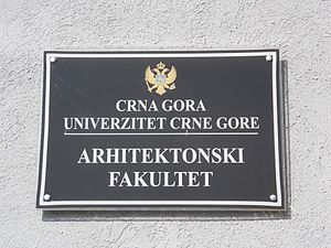 University of Montenegro Faculty of Architecture