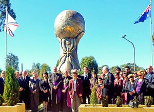 Assyrian Australians - Assyrians standing next to the genocide monument in Western Sydney.