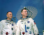 Astronauts Neil A. Armstrong (left), command pilot, and David R. Scott, pilot, the Gemini-8 prime crew, during a photo session.jpg