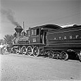Atchison, Topeka, and Santa Fe, 'Cyrus K. Holliday' Locomotive No. 1 with Tender, Left Rear (15652599815).jpg