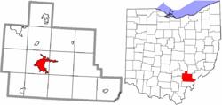 Расположение Афин в графстве Афины и штат Огайо