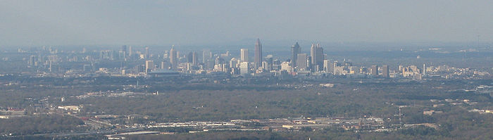 Atlanta's urban core viewed from the Southwest near Hartsfield-Jackson Atlanta International Airport in 2008