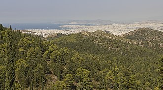 Attica - View from Kaisariani Hill looking towards Athens, with Salamis visible in the background