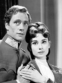 A photograph of Hepburn on the right and Mel Ferrer on the left in the television episode Mayerling