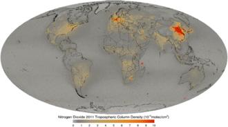 Nitrogen dioxide - Nitrogen dioxide 2011 tropospheric column density.