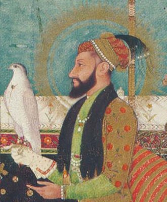 Aurangzeb - Emperor Aurangzeb seated on a throne in the darbar with a Hawk