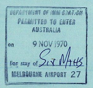Trans-Tasman Travel Arrangement - An Australian visa stamp on a New Zealand travel document.