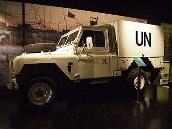 Photograph of a Land Rover used in Namibia on display at the Australian War Memorial in Canberra