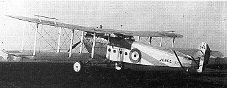 Avro 549 Aldershot - The second prototype in 1922, with modified rear fuselage and empennage but no external aileron links