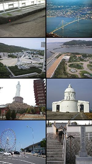 Awaji, Hyōgo - Top left:Nojima Fault, Top right:Akashi Strait Bridge and side of Honshu, 2nd left:Awaji Dream Stage theme park, 2nd left:Onokoro Theme Park, 3rd left:Peace Statue in Awaji Kannon Temple, 3rd right:Esaki Lighthouse, Bottom left:View of Ferriwheel in Awaji rest-house, Bottom right:Entrance in Honbuku Temple