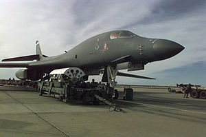 Bombing of Iraq (1998) - A B-1B is loaded with bombs at Ellsworth AFB on 17 December 1998.
