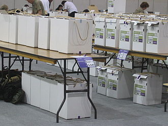 2008 London mayoral election - Ballot boxes at a count centre