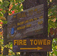 "Two brown signs on a tree in closeup. The upper one is older and faded with a blue plastic marker in one corner. It gives mileages in gold letters to ""Balsam Lake Mountain P.A."" and Mongaup Pond, with an arrow at the top pointing to the left. The lower one is newer, with an arrow pointing to the right and the large words ""FIRE TOWER""."