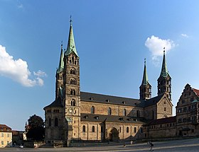 Bamberg Cathedral presents the distinctive outline of many of the large Romanesque churches of the Germanic tradition. The cathedral was rebuilt as Romanesque in the 1830s by Friedrich Gärtner.