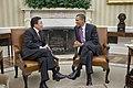 Barack Obama welcomes Tsakhiagiin Elbegdorj to the Oval Office.jpg