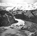 Barrier Glacier, terminus of piedmont glacier and junction with rock glacier at the center, August 22, 1968 (GLACIERS 6517).jpg