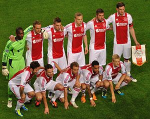 88fde56c1 2011 AFC Ajax team wearing their home kit by adidas with the AEGON sponsor  across the chest