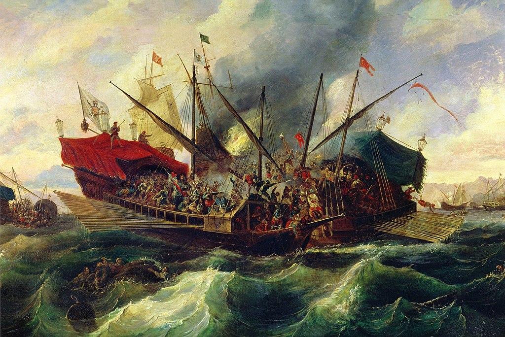 Bataille de Lepante en 1571 immortalisé par Antonio de Brugada.