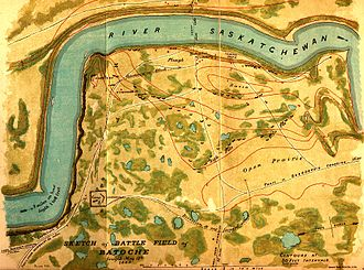 Battle of Batoche - Batoche battlefield sketch map