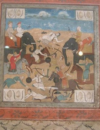 Battle - Battle Scene-Detail from Deccan miniature painting. c. 19th century.