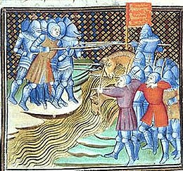 A colourful, Medieval image of knights and bowmen in hand to hand combat