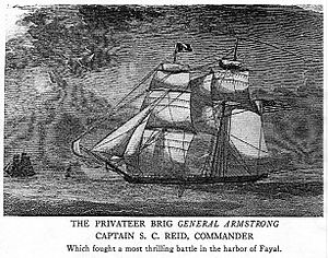 "Battle of Fayal - ""The Privateer Brig General Armstrong Captain S. C. Reid Commander. Which fought a thrilling battle in the Harbor of Fayal."""
