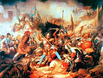 Ottoman–Hungarian wars - Battle of Nándorfehérvár, Hungarian painting from the 19th century. In the middle Kapisztrán János with the cross in his hand.