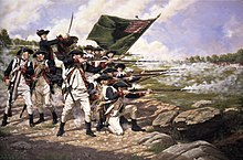 Colonial era soldiers stand and kneel while firing muskets at and advancing enemy. Behind them is a mounted soldier with a bayonet and behind them is a large flag.