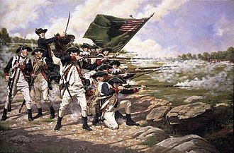 Battle of Long Island - Painting depicting the Delaware Regiment at the Battle of Long Island