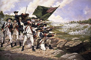 English: The Delaware Regiment at the Battle o...