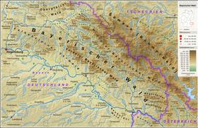 Carte topographique de la forêt de Bavière (Bayerischer Wald).
