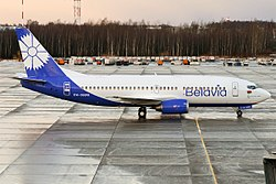 Belavia in neuem Design in Minsk 2017