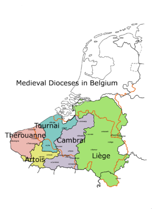 Roman Catholic Diocese of Liège - This map shows the pre-1559 medieval Diocese of Liège (in yellow) which evolved from the Civitas Tungrorum and probably had similar boundaries.