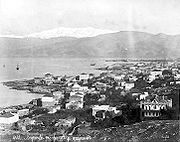 View of Beirut with snow-capped Mount Sannine in the background - 19th century