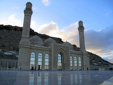 The 13th century Bibi-Heybat Mosque. The mosque was built over the tomb of a descendant of Muhammad. Bibi-Eybat mosque, Baku, 2009.jpg