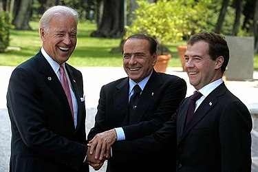 U.S. Vice President Joe Biden, Russia's President Dmitry Medvedev and Italy's Prime Minister Silvio Berlusconi meeting in Italy in June 2011 Biden, berlusconi and medvedev.jpeg