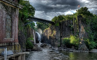 The Great Falls of the Passaic River in Paterson, Passaic County, dedicated as a U.S. National Historical Park in November 2011, incorporates one of the largest waterfalls in the eastern United States. Bigfalls14w info.jpg