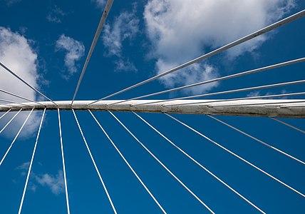 "Zubizuri Bridge (""the White Bridge""), view upwards. Bilbao, Biscay, Spain"
