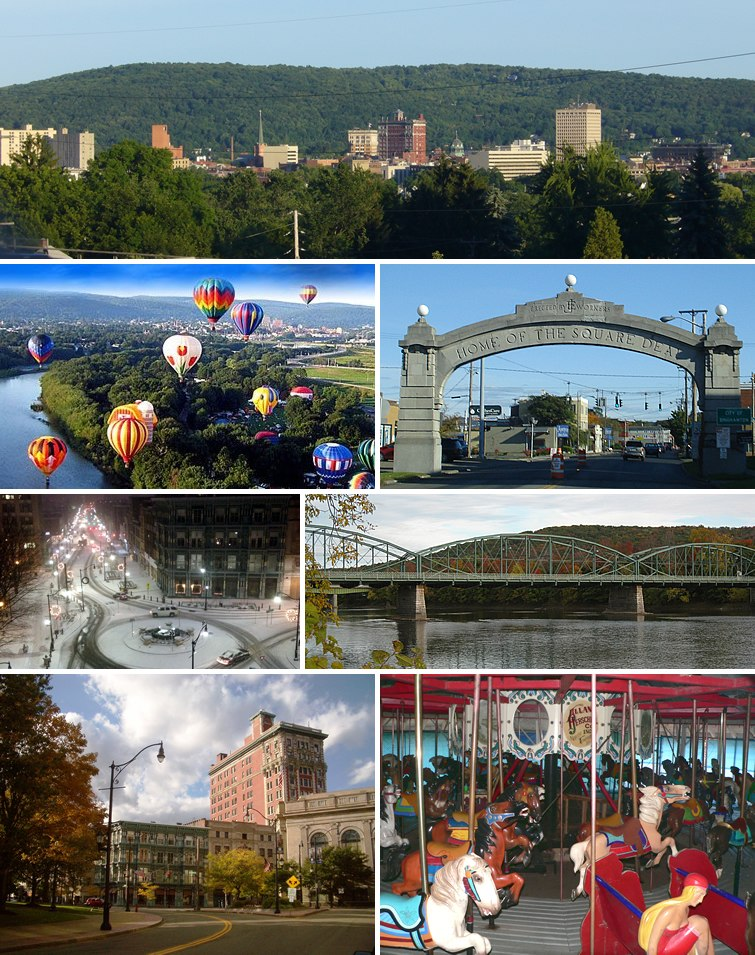 Clockwise from top: Binghamton skyline, the Endicott Johnson Square Deal Arch, the South Washington Street Bridge, the Ross Park Zoo carousel, Court Street Historic District, downtown in winter, and the Spiedie Fest and Balloon Rally.