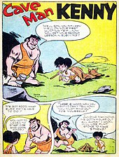 "3 panels, a brawny man standing to the left and a child to the right on grass in front of a cave. The man is holding a hammer in his right hand and has only 2 teeth visible, the child a spear and dragging a cat behind him, and both are dressed in wraps around their waist with a strap around one shoulder. The man says, ""Well, son, you did very well on your first hunting trip...now you get your second lesson in surviving!"" The child says, ""Me got food, what else do me have to do?"" to which the man responds, ""You got to learn to start fire and cook food!"" The third panel shows the child looking at a small tipi pyre, the man walks away and says, ""There is wood, now you light! I can't tell how--you must find out for yourself!"" and the child says to himself, ""Jumping mammoths. Me gotta figure out all alone! I know, will use flint stone to make sparks!"""
